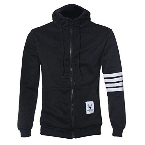 Vovotrade ❀❀High Quality And Fashion Men Hoodies Brand Sports Suit Sweatshirt Hoodie Casual Zipper Hooded Jackets Male (EU Size:38(L), Black)