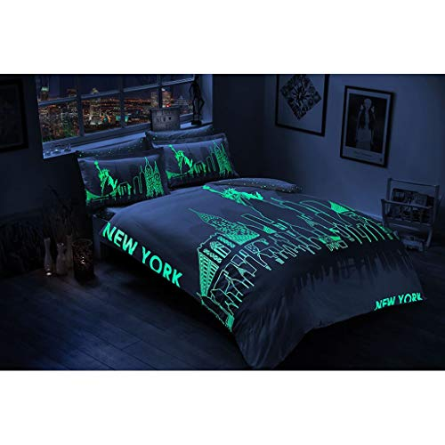 TAC Bettwäsche-Set, 100% Baumwollsatin, Doppelbett, Queen-Size, New York City, Bettwäsche-Set, mit Leucht-Effekt, 1 Bettbezug, 1 Bettlaken und 4 Kissenbezüge. (Bettbezug New York City)