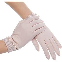 jysport verano mujeres sol UV protección al aire libre rayas guantes 100% algodón guantes de conducción mitones, 17