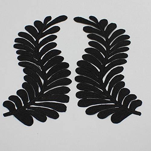 AiCheaX Lace Crafts - 5 Paare/los Eisen auf Gold gestickte applizierte Spitze Blume Cosplay Kostüm Drachenschwanz Spiegel Paar Borte 20,5-8,0 cm DIY - (Farbe: Schwarz) -