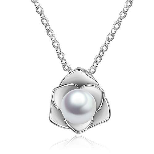 B&H-ERX Blume mit perlenkette anhänger Charme Lange Kette 925 Sterling Silber schmuck Geschenk für Frauen mädchen Geburtstage Freundschaft Geschenke