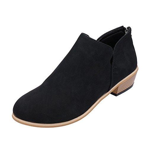 Damen Herbst Schuhe Knöchel Leder Martin Schuhe Kurze Stiefel (38, Black)