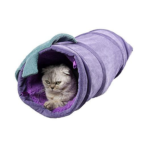 Ploufer Tierspielzeugtunnel, Faltbarer Cord, warme Tunnelbetten für Katze, Hunde, Kaninchen, Länge 56 cm, Durchmesser 25 cm