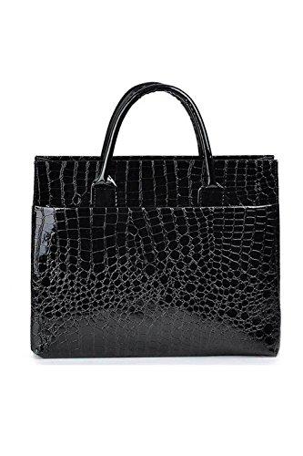 Vococal -Damen Große Kapazität PU Leder Tote Handtasche - Stone Muster Umhängetasche Messenger, Schwarz #4