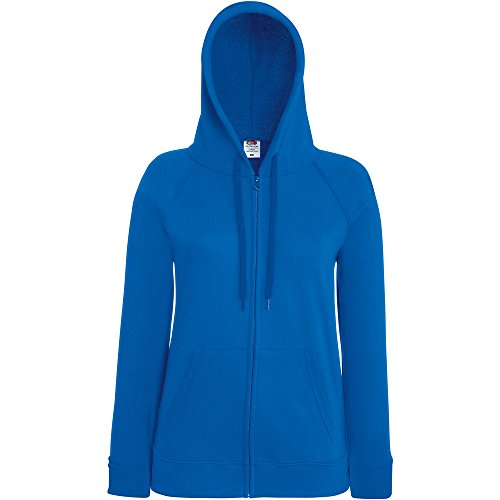 Fruit Of The Loom Ladies Lady Fit Full Zip Hooded Sweatshirt Royal Blue