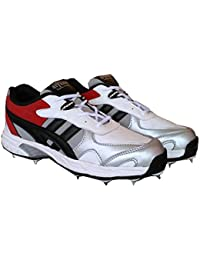 Aryans K11 white Cricket Full Spikes Cricket Shoes