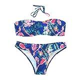 Luckycat 2018 Mujer Brasileño Bikini Push Up con Relleno - Anudadas Bandeau Tops de Bikini Y Tangas de Floral - Traje de Baño Bañadores de Dos Piezas