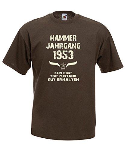 Sprüche Motiv Fun T-Shirt Geschenk zum 64. Geburtstag Hammer Jahrgang 1953 Farbe: schwarz blau rot grün braun auch in Übergrößen 3XL, 4XL, 5XL braun-01