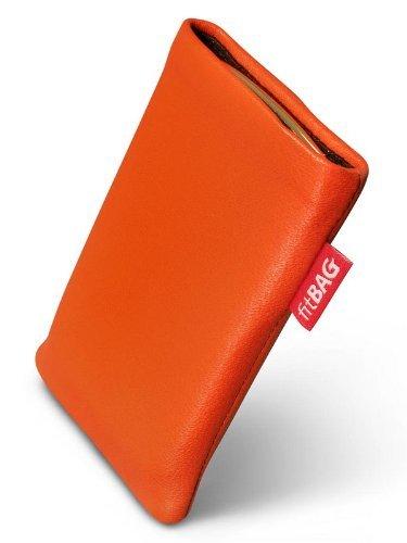 fitBAG Beat Orange Handytasche Tasche aus Echtleder Nappa mit Microfaserinnenfutter für Samsung SGH-X500