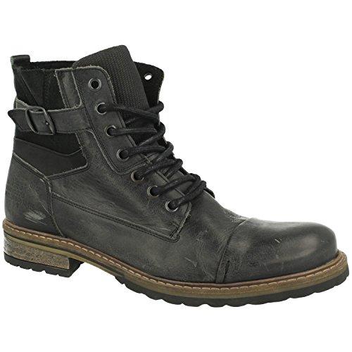 BULLBOXER Herren Stiefel 285K84158,Männer Boots,Lederstiefel,Schnürstiefel,Combat,Chukka,Blockabsatz,Grey,EU 44