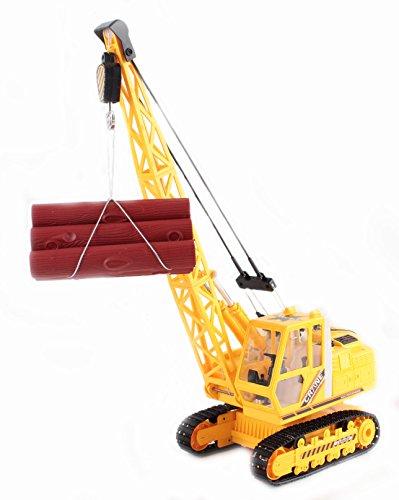 deAO RC Heavy Building Crane Truck Radio Management Deluxe Crane Excavator with Equipment Included (27MHz Yellow)