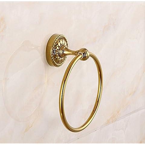 Todo el oro de cobre anillo de toalla de baño de pared Perchas toalla desechable bastidor soporte del anillo