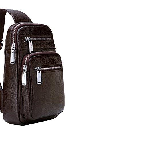 Yy.f Leder Mann Tasche Leder-Umhängetasche Brustbeutel Marken Business Aktenkoffer Taschen Der Männer Volltonfarbe Tasche Black