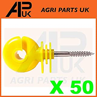 APUK 50 x Yellow Screw Ring Insulators Electric Fence Post Wire Rope Fencing Polywire