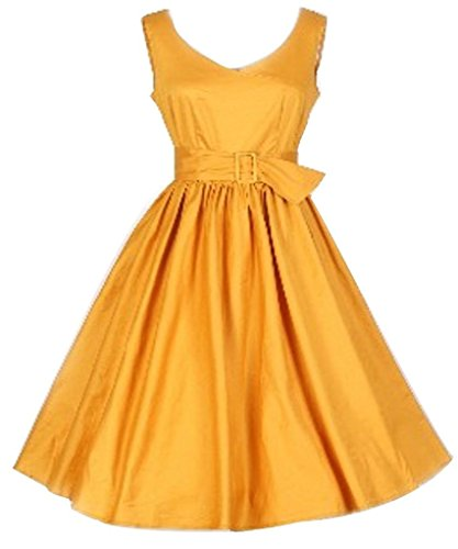Eyekepper Robe cocktail Femme / Mademoiselle - Robes de Soiree Vintage Retro Jaune
