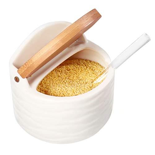 77L Keramik Zuckerdose, 250 ML (8.52 FL OZ) Zuckerdose Schüssel mit Löffel und Deckel aus Bambus für Zuhause und Küche - Modernes Design, Weiß,Servieren Zucker, Pfeffer, Gewürz, uvm