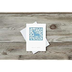 Grusskarte Hallo Baby Esel/Postkarte, Recycling, Mexico, Folk Art, Tiere, Blumen, Geburt, Geschenk, Neugeborene, Geburtstag, Blau, Recycling Papier