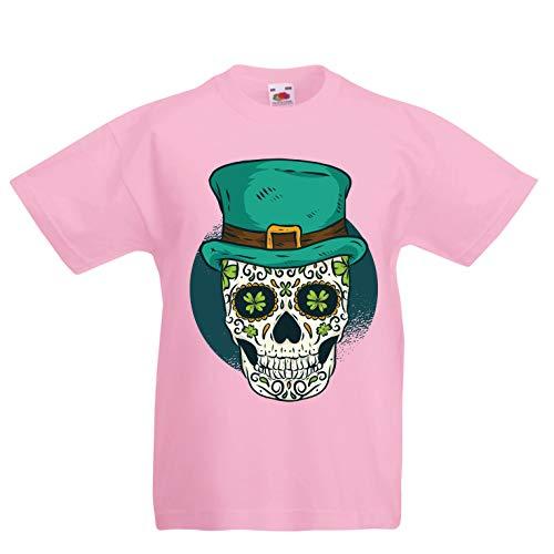 lepni.me Kinder Jungen/Mädchen T-Shirt Schädel des St. Patricks-Tages, irische Kleeblatt-Tätowierungen (3-4 Years Pink Mehrfarben)