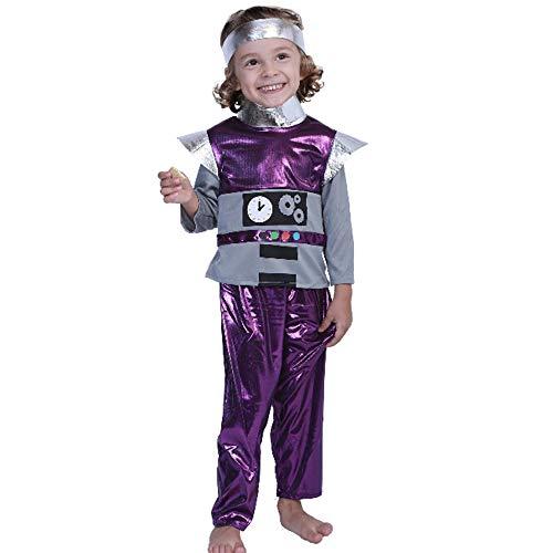 Engel Boy Kostüm - DXYQT Cosplay Anime Kostüm Leistung Kostüm Lila Alien Set Halloween Familie Roboter COS Kleidung Kostüm,Boy-L