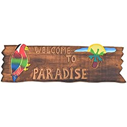 Tiki Cartel 50 cm – Welcome to Paradise – Decoración para su Lounge Rango Tiki 40263 Cartel de madera Tiki God