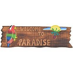 Tiki Cartel 50cm–Welcome to Paradise–Decoración para su Lounge Rango Tiki 40263Cartel de madera Tiki God