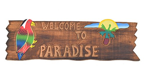 Tiki-Cartel-50-cm--Welcome-to-Paradise--Decoracin-para-su-Lounge-Rango-Tiki-40263-Cartel-de-madera-Tiki-God