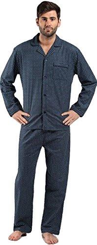 Gebürstetes Flanell Herren Langarm Pyjamas., geometrisches Muster, Grau oder Navy, Größe M/L/XL/XXL Mehrfarbig - Grau