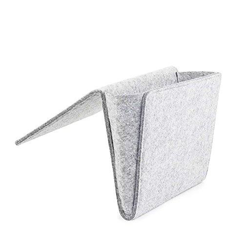 Daite 0,2 '' Dicke Filz Nachttisch-Canddy Tasche 10,9 * 8,6 * 4,3 '' für Telefon, Fernbedienung, Magzine, Glas, Stift, innen mit 2 kleinen Taschen (hellgrau)