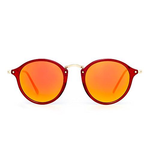 Retro Polarisiert Runden Sonnenbrille Klein Glas Getönt Kreis Linse Damen Herren(Rot/Rot)