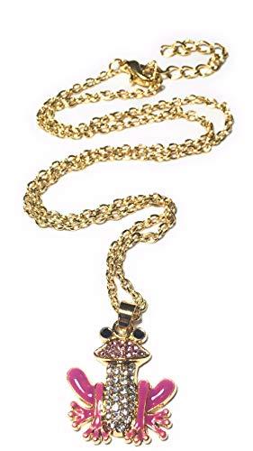 FizzyButton Gifts Goldton Frosch Charme mit rosa und schwarzer Emaille und Hellrosa und Detail klar Strass Hing an verGoldet 44 cm Kette, mit Geschenk-Box -