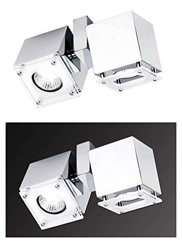 Deckenstrahler 2 flammig schwenkbar Decken Spot Deckenlampe beweglicher Strahler Flur Lampe Würfel (Deckenleuchte, Deckenlicht, Schlafzimmer, Wohnzimmer Leuchte, 20 cm, Küche, 2 x 40 Watt, warmweiß) (G10 Basis 2)