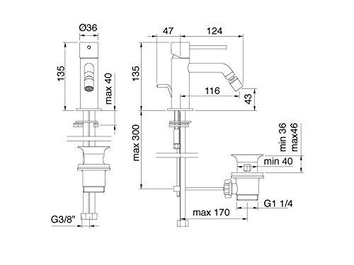Treemme Up Stand-Einhebelmischer für Bidet mit Ablaufgarnitur Art 5720
