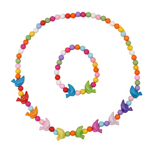 Angel Glitter Dolphin Sings Colourful Dreams Ring Necklace Set for Children