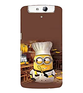 printtech Funny Yellow Chef Back Case Cover for Oppo N1