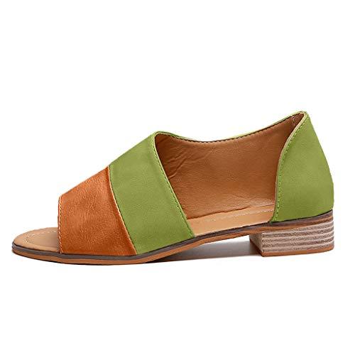 NEEKY Frau Römische Fischmaul Farbe passend Niedriges Quadrat mit großen Sandalen - Die römischen Peep Toe- Mischfarben Frauen Niedrige quadratische Fersen-große Sandelholz-Schuhe(37,Grün)