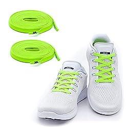MAXX Flache Elastische Schnürsenkel mit Einstellbarer Spannung Schuhbänder ohne Binden Passt zu jedem Schuh, Neon gelb