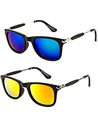 UV Protected Blue Yellow Mercury Wayfarer Sunglasses For Boys/Girls Mens/Womens (Yellow Blue Silver Stick Combo...
