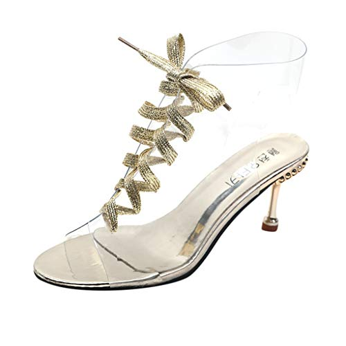 YEARNLY Damen Sommer High Heels Schuhe Frauen-Reizvolle Kristallperlen Transparenter...