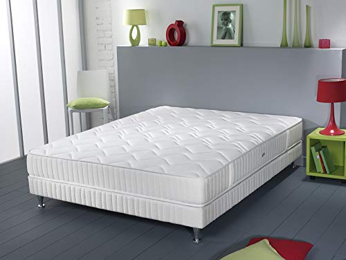 Simmons Milan Ensemble sommier + matelas ressorts ensachés garnissage latex 140x190