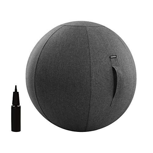 mit Bezug Multi-Purpose Yoga Gymnastikball Stabilität,Fitness und Geburtsball mit Inflator und Griff, grau, 75cm ()