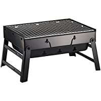 Feng Parrilla de Acero Negro Plegable portatil sirviendo Indoor - Outdoor BBQ Charcoal Barbacoa Barbacoa Estante