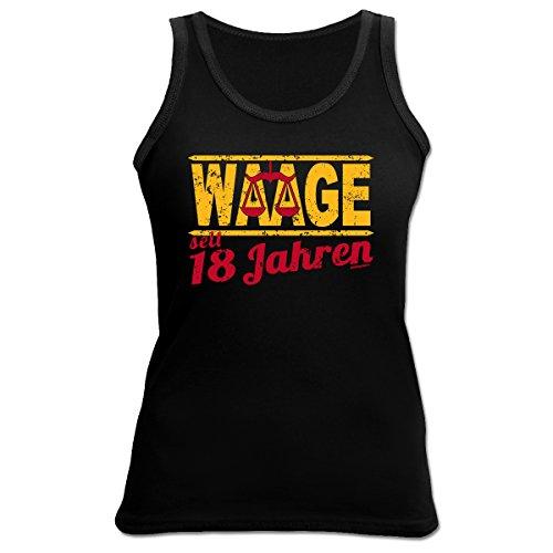 Damen Tank Top zum 18.Geburtstag : Waage / 18 Jahre Sternzeichen - Damen Shirt 18 Jahre Schwarz