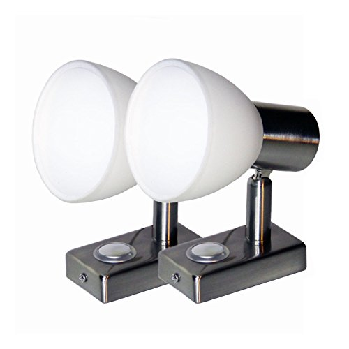 Preisvergleich Produktbild LIGHTEU, 2X 12V 3W D1 Decken- / Wandstrahler, Nickel-Finish, Nachttischlampe, Leselampe mit Touch-Schalter dimmbar warmweiß/blaues Licht für Yacht, Caravan, RV