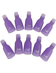 Gazechimp 10pcs Capuchon Plastique Pince à Ongles Gel UV Pellicule Outil d'art Ongle - Violet