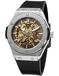 timelyo® Herrenuhr, Armbanduhr, Automatikuhr, mechanisch, Skelett-Uhr, Stahl, Sport