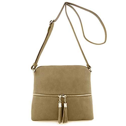 Produp Mode Frauen Leder Quaste Umhängetasche Reine Farbe Umhängetaschen Umhängetasche Schultasche Rucksack Umhängetasche