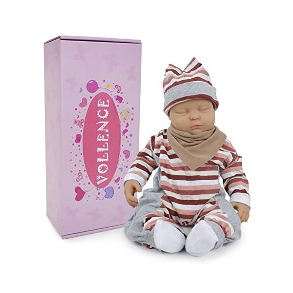 """Vollence Lifelike Reborn Baby Dolls That Look Real,PVC Free,Similar Real Baby Full Weighted Doll,Handcrafte Cute Babies Dolls Vollence ★ USER NOTICE:Because the doll's head has silicone injection hole,The injection hole is one of the process of making dolls,So it will leave a slight mark on its head,This is not a doll's quality problem,If you mind the head slight mark,please do not buy it! ★ Doll Size: 18 inch / 45 cm (newborn size) Weight:8.37Ib(3.8kg).What's in the box: 1 x Reborn Doll ; 1 x a set of baby clothes ★ Better than Vinyl Dolls: Our reborn baby is made of Platinum Liquid Full Silicone, She is Solid reborn baby dolls,And not like vinyl dolls are hollow.That is right, Real FULL SILICONE . it is Weighted Body for a """"Real"""" Baby Feel. So it is expensive than other seller baby dolls. 2"""
