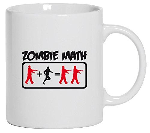 Halloween Grusel Kostüm Kaffeetasse Kaffeebecher mit ZOMBIE MATH Motiv, Größe: onesize,Weiß