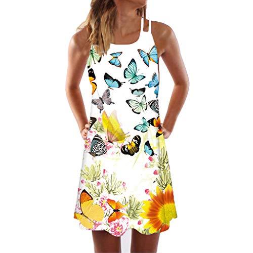iYmitz Große Größe Sommerkleider Damen Casual Ärmellos T-Shirt Kleid Kurzen Blumen Bedrucktes Strandkleider mit Schmetterling(Gelb,EU-34/CN-S)