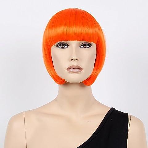 stfantasy kurz Perücken für Frauen Kunsthaar Gerade Hitzebeständig 30,5cm 110g Bob Wig peluca frei Hair Net + Clips, orange